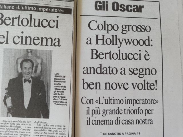 CINEMA/ALBUM Bernardo Bertolucci sul Corriere dello Sport