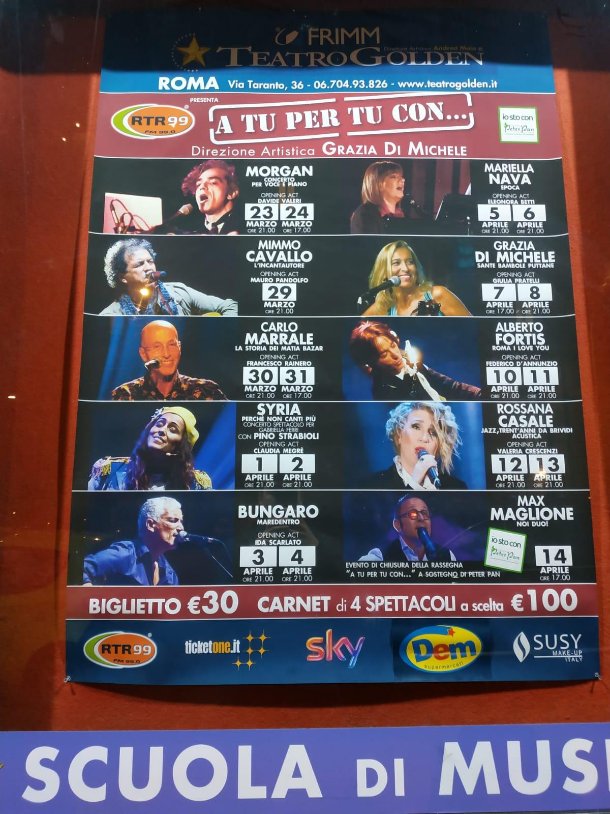 MUSICA A tu per tu con… 18 concerti al Teatro Golden