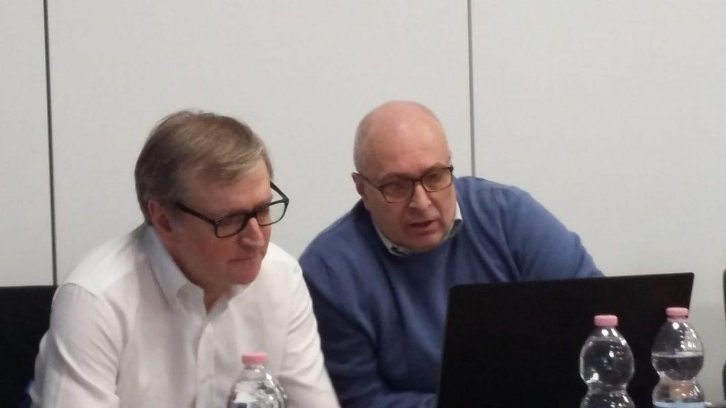 Nicola Roggero e Franco Bragagna impegnati in un'inedita telecronaca a due voci, esempio pratico che ha concluso il seminario Foto Mario Biagini
