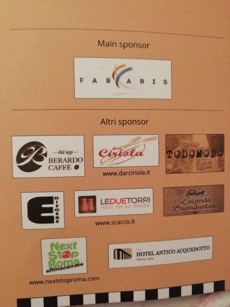 Gli sponsor del Festival degli Scacchi Bicentenario Accademia Scacchistica Romana