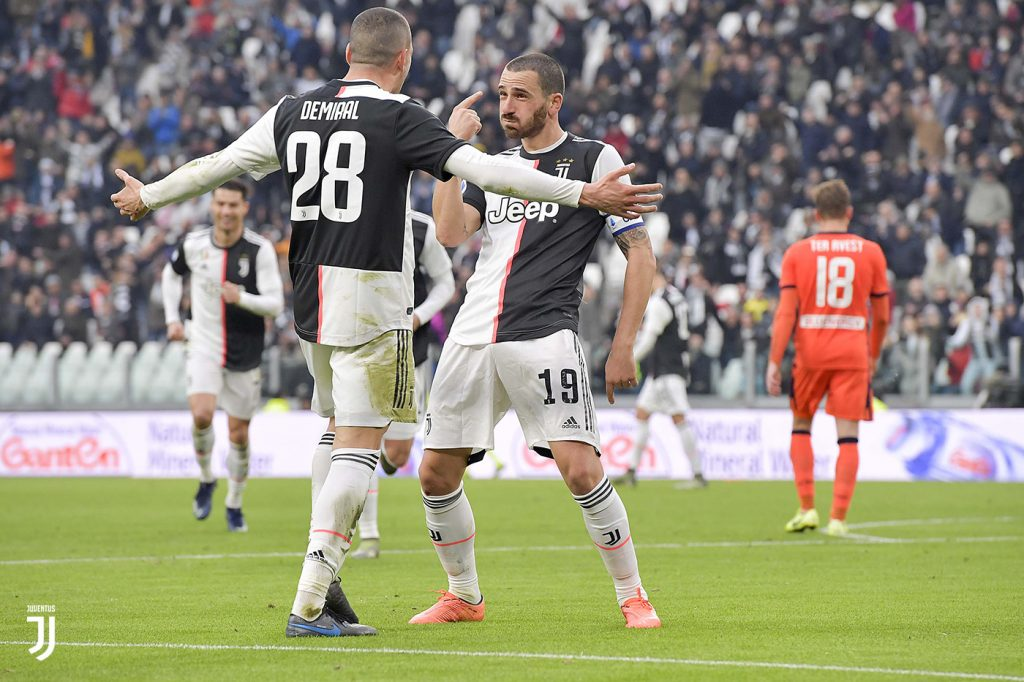 L'esultanza di Bonucci dopo il suo gol del 3-0. Foto Juventus.com