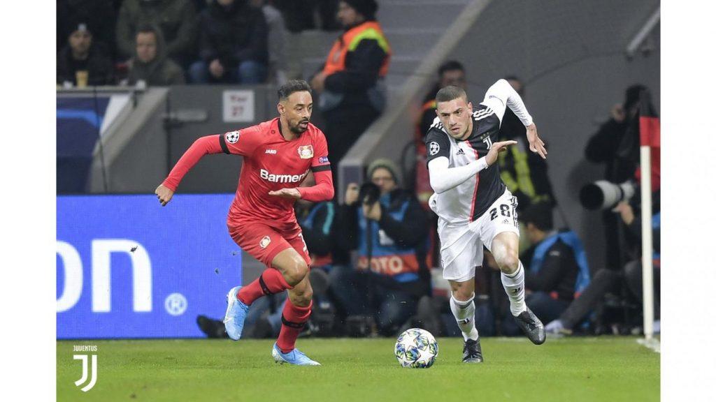 Bayer Leverkusen-Juventus 0-2. Il turco Demiral in azione Foto Juventus.com