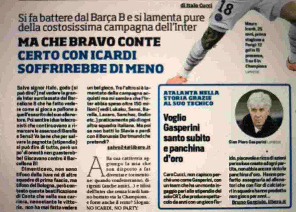 La lettera pubblicata dal Corriere dello Sport che non è piaciuta all'Inter