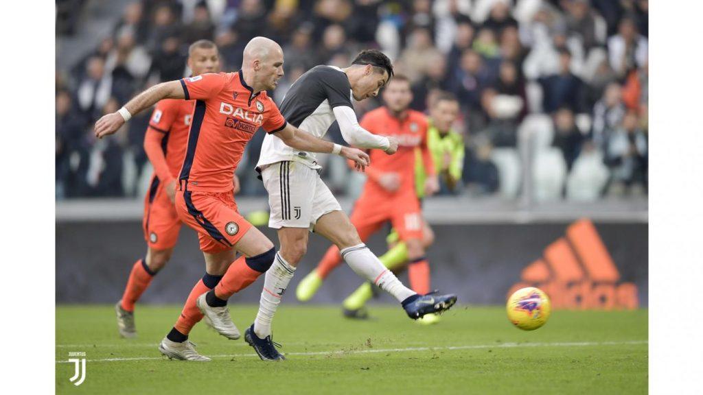 Cristiano Ronaldo a segno contro l'Udinese Foto Juventus.com