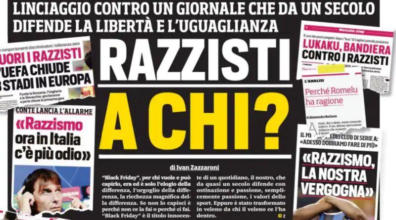 Corriere dello Sport e il razzismo degli analfabeti