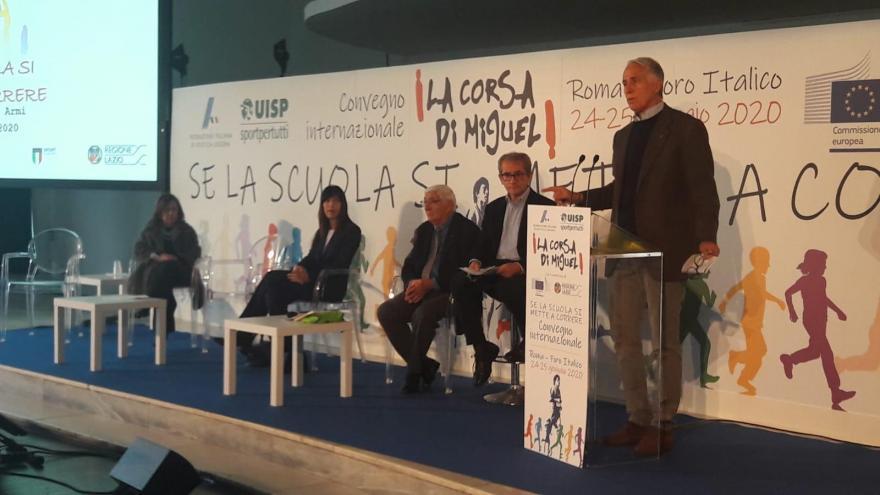 Il presidente del Coni, Giovanni Malagò al convegno Se la scuola si mette a correre Foto FIDAL