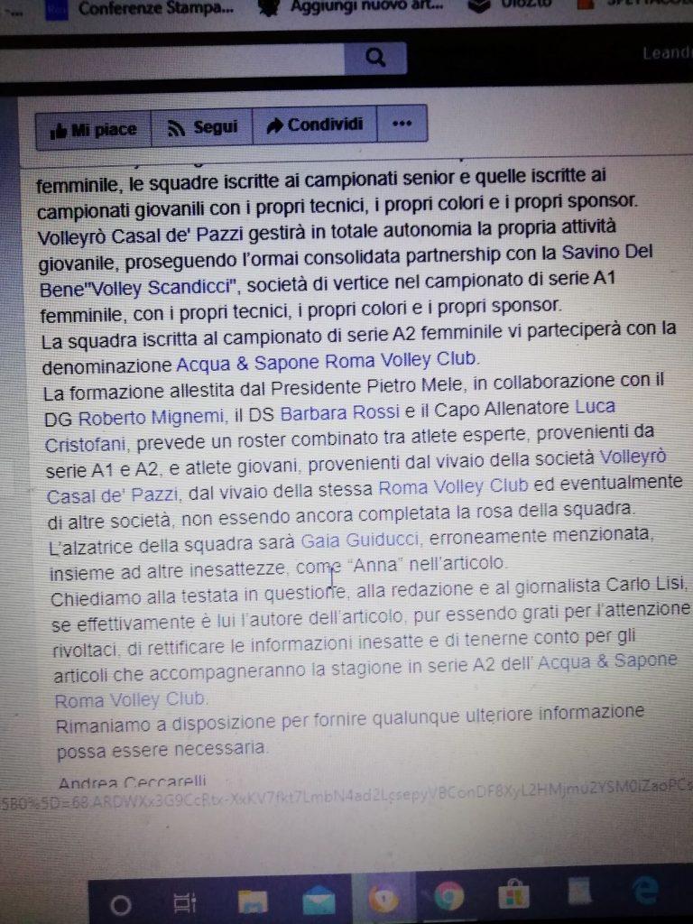 Il comunicato apparso sulla pagina Facebook della società Roma Volley Club femminile