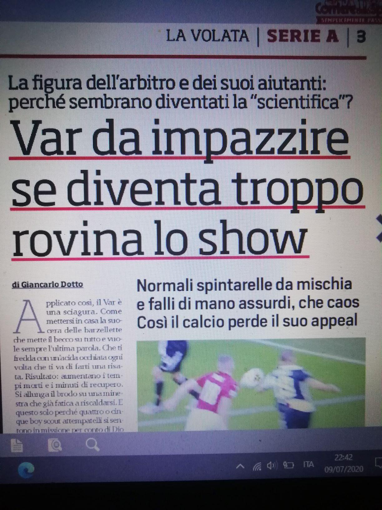 Troppo VAR rovina il calcio italiano